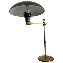 Vintage American Brass and Green Metal Shade Office Desk Table Lamp