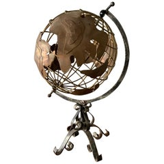 Vintage American Brass and Iron Table Globe