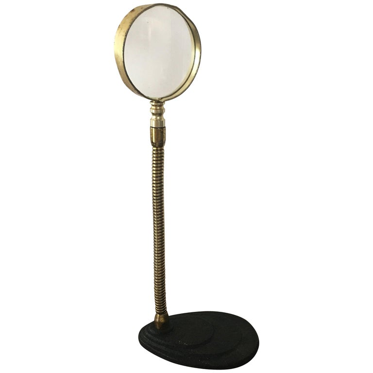 Vintage American Brass Gooseneck Magnifying Glass, circa 20th Century For Sale