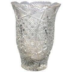 Vintage American Brilliant Cut Glass Vase, circa 1950
