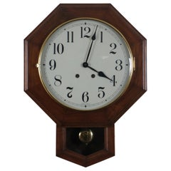 Vintage American Cherry Octagon School House Short Drop Wall Clock West Germany