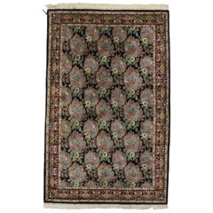 Vintage American Colonial Style Indian Area Rug with Framed Flowers