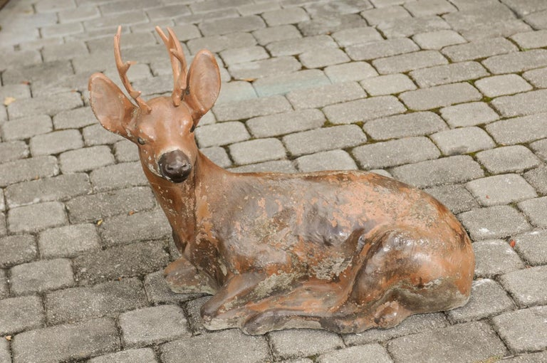 Vintage American Concrete Reclining Deer Sculpture with Iron Antlers and Patina For Sale 5