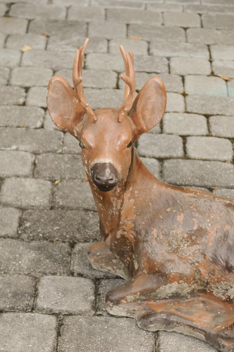 Vintage American Concrete Reclining Deer Sculpture with Iron Antlers and Patina For Sale 6