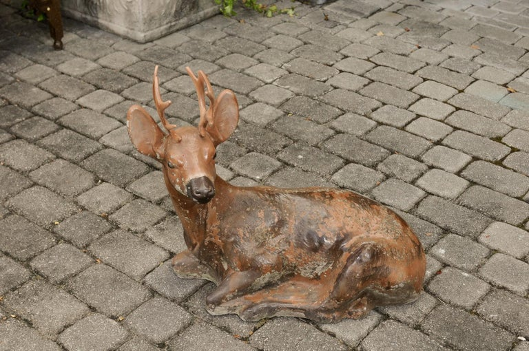 20th Century Vintage American Concrete Reclining Deer Sculpture with Iron Antlers and Patina For Sale