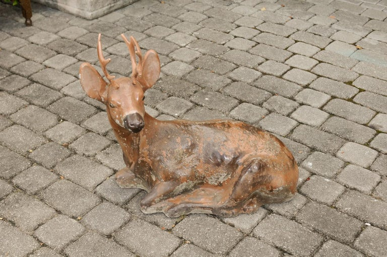 Vintage American Concrete Reclining Deer Sculpture with Iron Antlers and Patina For Sale 1