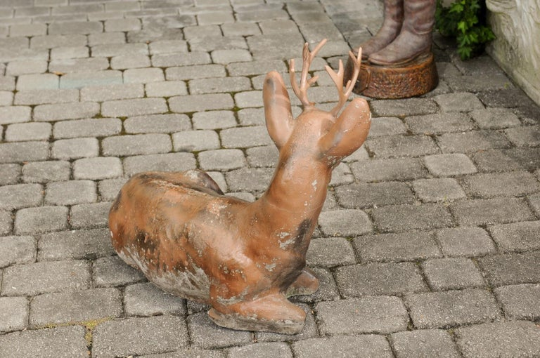 Vintage American Concrete Reclining Deer Sculpture with Iron Antlers and Patina For Sale 2