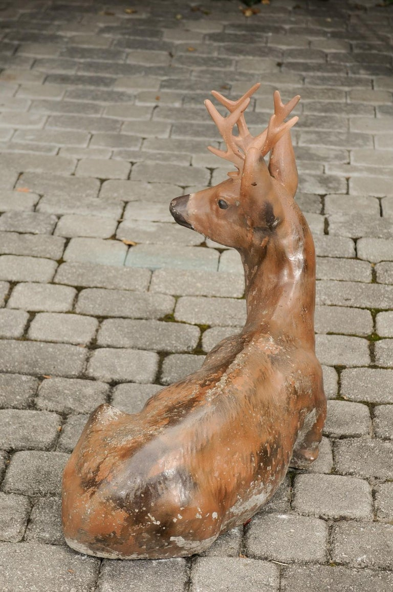 Vintage American Concrete Reclining Deer Sculpture with Iron Antlers and Patina For Sale 3