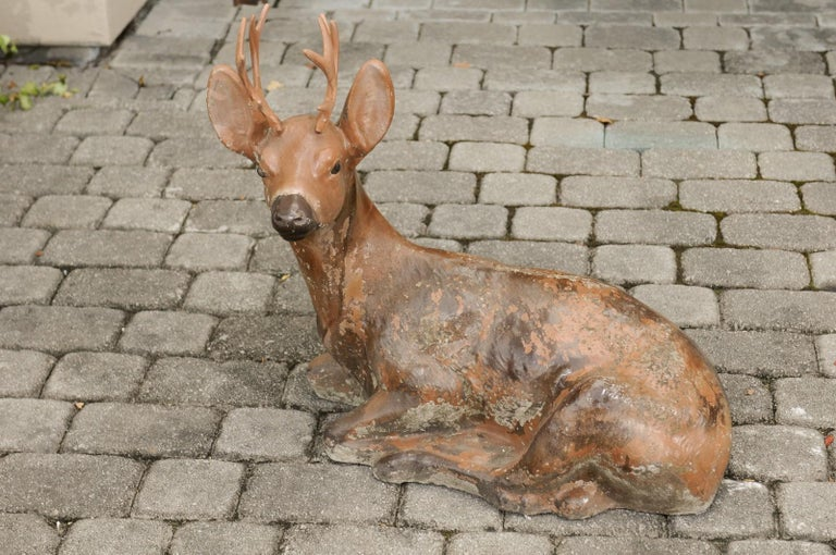 Vintage American Concrete Reclining Deer Sculpture with Iron Antlers and Patina For Sale 4