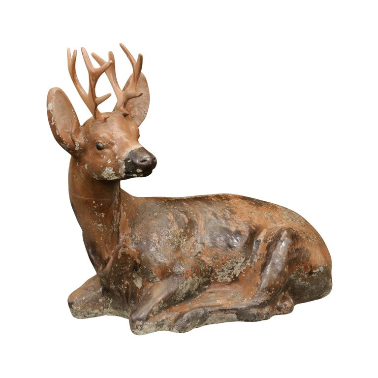 Vintage American Concrete Reclining Deer Sculpture with Iron Antlers and Patina For Sale