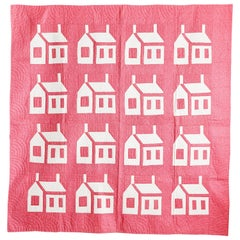 "Vintage American Handmade Patchwork ""Houses at Night"" Quilt in Pink and White"