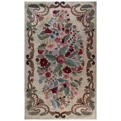 Vintage American Hooked Colorful Floral Handmade Wool Rug