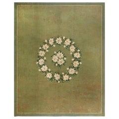 Vintage American Hooked Green, Beige and White 'Timeworn' Handwoven Wool Rug