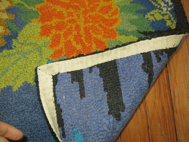 Country Vintage American Hooked Mat Size Rug For Sale