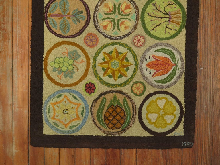 Hand-Woven Vintage American Hooked Mat Size Rug For Sale