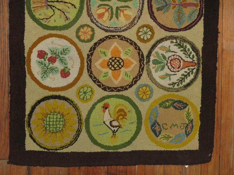 20th Century Vintage American Hooked Mat Size Rug For Sale
