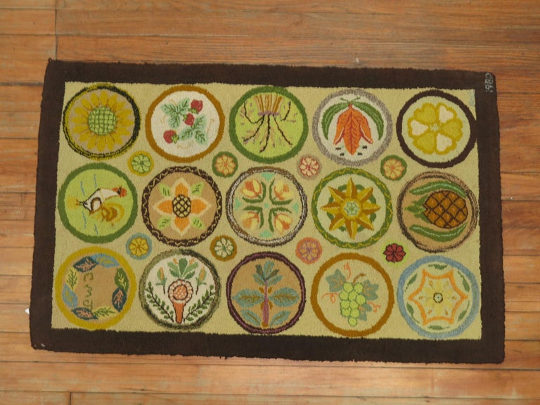 Wool Vintage American Hooked Mat Size Rug For Sale