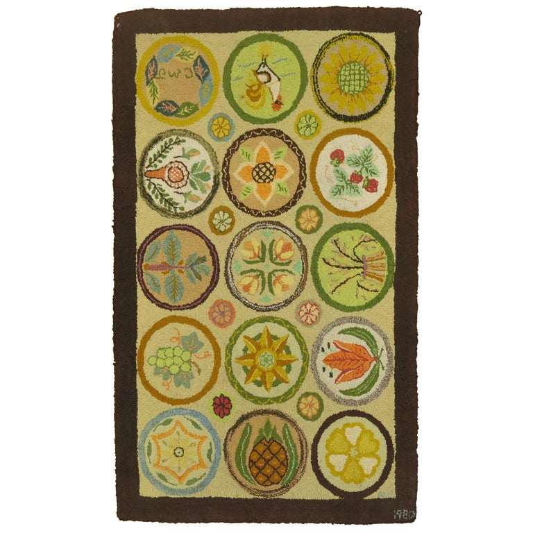 Vintage American Hooked Mat Size Rug For Sale