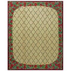 Vintage American Hooked Red Roses Handmade Wool Rug