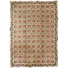Vintage American Hooked Rug with All-Over Checkered Pattern of Floral Bouquets
