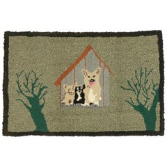 Vintage American Hooked Rug with Country Cottage Style, Dog Pictorial Tapestry