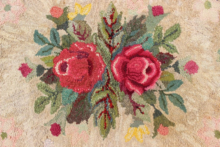 Vintage American Hooked Rug With Red Rose And Yellow