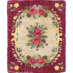 Vintage American Hooked Rug with Red Rose and Yellow Flower Bouquets