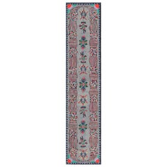 Vintage American Hooked Long Runner with Colorful Vertical Medallion Design