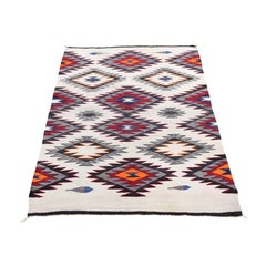 "Vintage American Indian Navajo Flat Weave Hand-Woven Rug, 2'10"" x 4'2"""