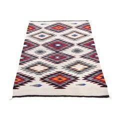 Vintage American Indian Navajo Flat Weave Hand-Woven Rug