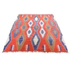 Vintage American Indian Navajo Flat-Weave Handwoven Rug