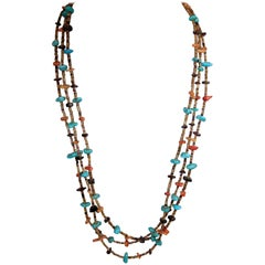 Vintage American Indian Pawn Turquoise, Coral, Onyx Stone 3-Strand Necklace