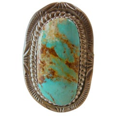 Vintage American Indian Pawn Turquoise & Sterling Ring, Size 11