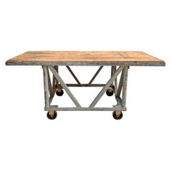 Vintage American Industrial Kitchen Island with Wood Top