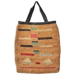 Vintage American Late 19th Century Decorative Native American Corn Husk Bag