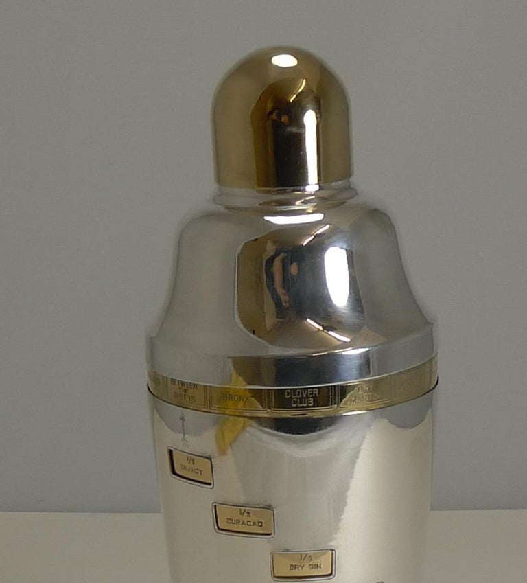 Vintage American Napier Recipe Cocktail Shaker, circa 1930, Art Deco In Good Condition For Sale In London, GB