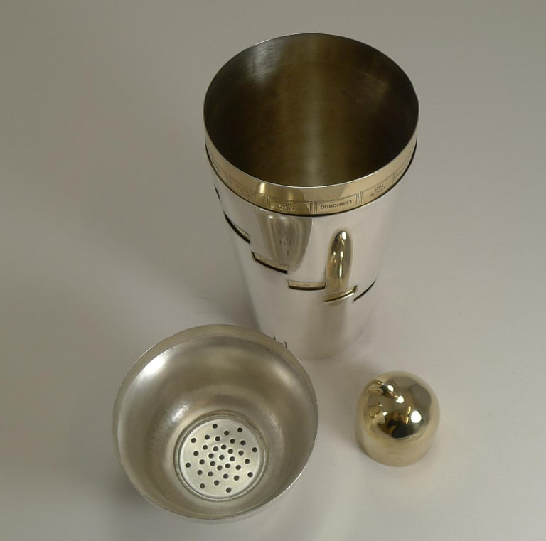 Mid-20th Century Vintage American Napier Recipe Cocktail Shaker, circa 1930, Art Deco For Sale