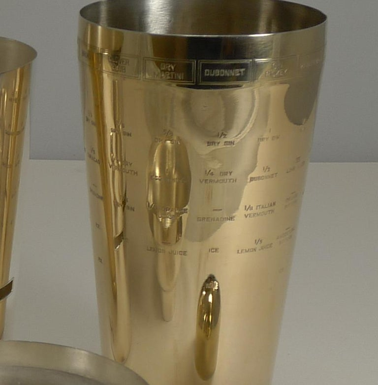 Gold Plate Vintage American Napier Recipe Cocktail Shaker, circa 1930, Art Deco For Sale