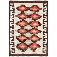 Vintage American Navajo Tribal Rug with Diamonds in Brown, Orange and Ivory