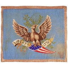 Vintage American Handhooked Beige and Blue Wool Rug with Eagle Design