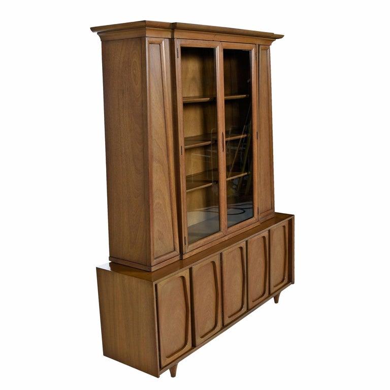 Mid-Century Modern Vintage American of Martinsville Masonic Deco Modern Walnut China Hutch Cabinet For Sale