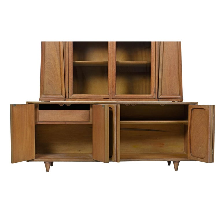 Mid-20th Century Vintage American of Martinsville Masonic Deco Modern Walnut China Hutch Cabinet For Sale