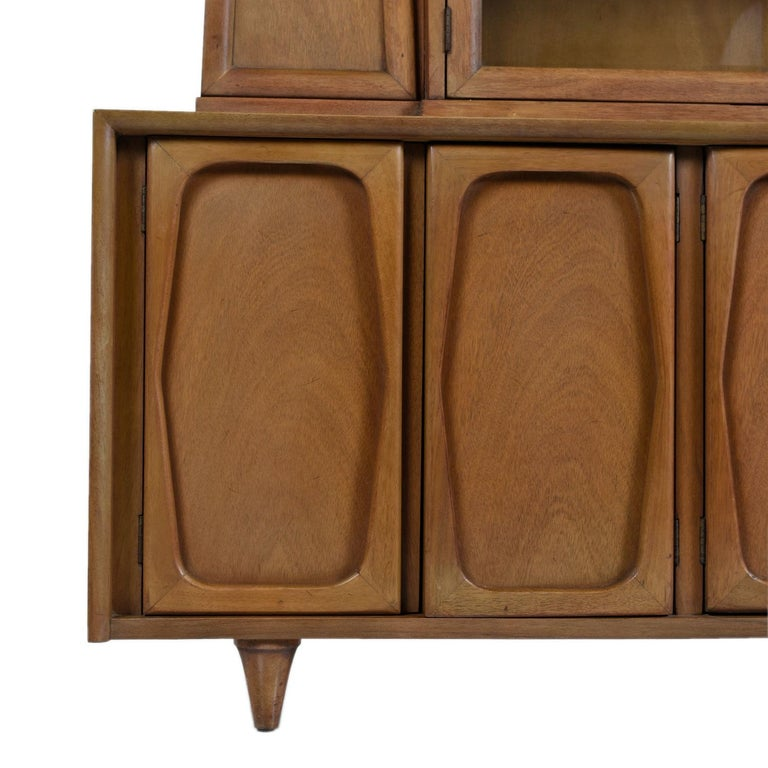 Vintage American of Martinsville Masonic Deco Modern Walnut China Hutch Cabinet For Sale 3