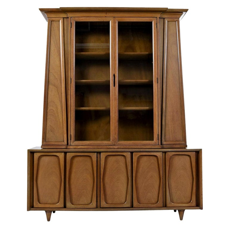 Vintage American of Martinsville Masonic Deco Modern Walnut China Hutch Cabinet For Sale
