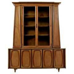 Vintage American of Martinsville Masonic Deco Modern Walnut China Hutch Cabinet