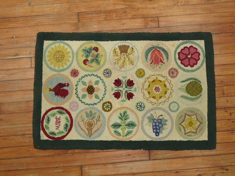 Hand-Woven Vintage American Pictorial Hooked Mat Size Rug For Sale