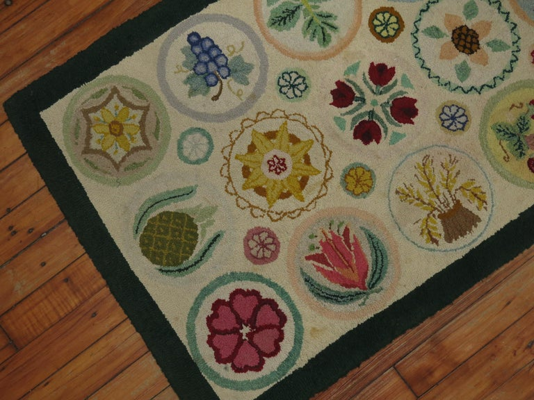 Wool Vintage American Pictorial Hooked Mat Size Rug For Sale