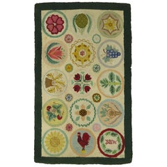 Vintage American Pictorial Hooked Mat Size Rug