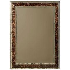 Vintage American Rectangular Mirror with Faux-Tortoise Églomisé́ Frame