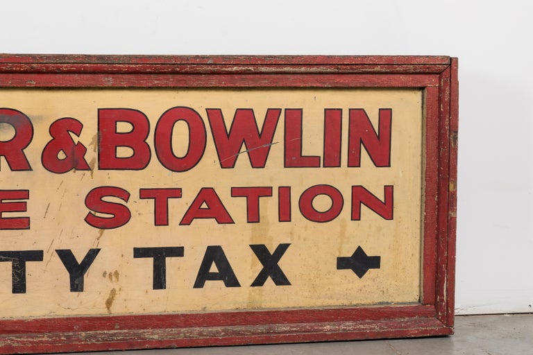 Vintage American Service Station Wood Sign Original Red Paint For Sale 4